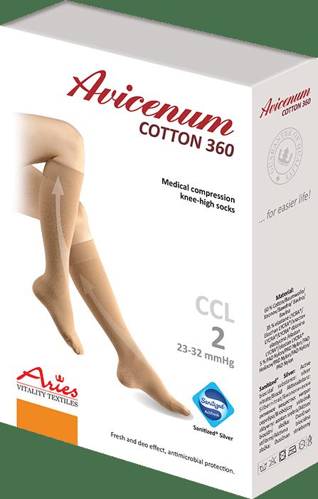 ARIES Podkolanówki przeciwżylakowe Avicenum 360 DEN COTTON