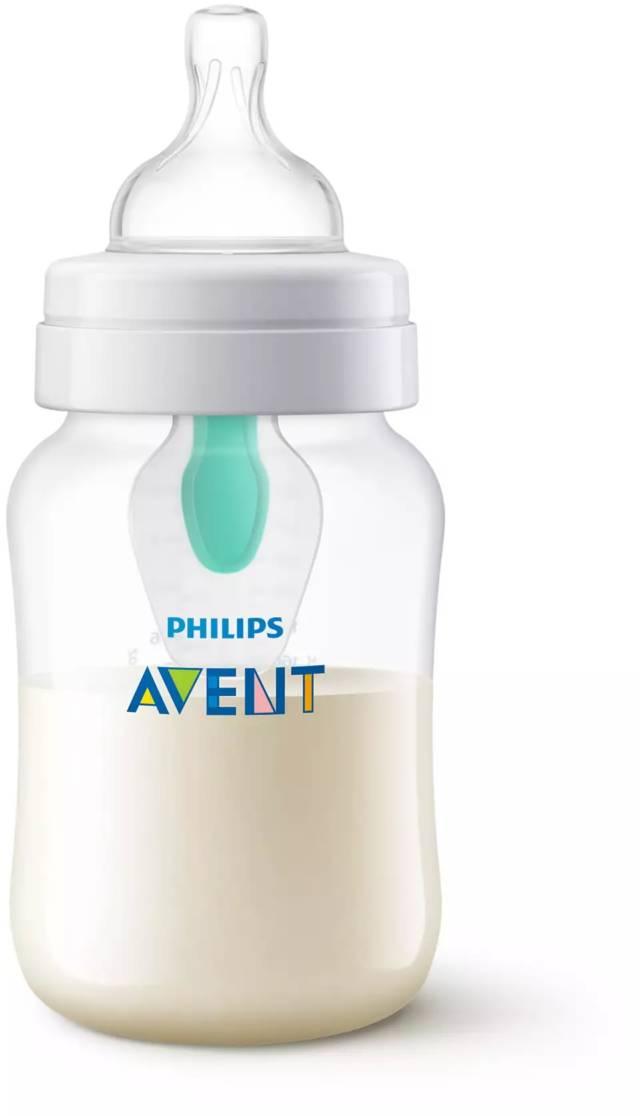 AVENT Zestaw butelek Anti-colic z nakładką AirFree™ (2×125 ml, 2x260ml, szczotka do czyszczenia, smoczek ortodontyczny) SCD807/00