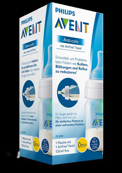 AVENT Butelka Anti-colic 125ml z nakładką antykolkową AirFree™ SCF810/14