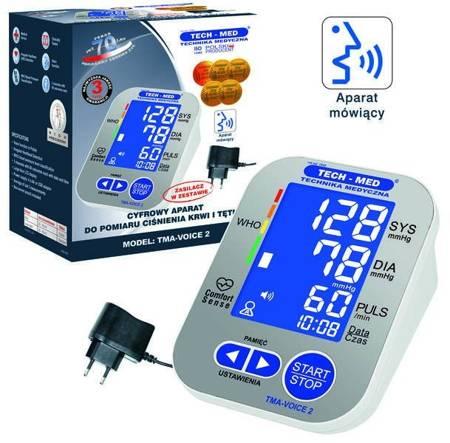 TECH-MED Ciśnieniomierz elektroniczny z funkcją mowy TMA-VOICE 2 z zasilaczem