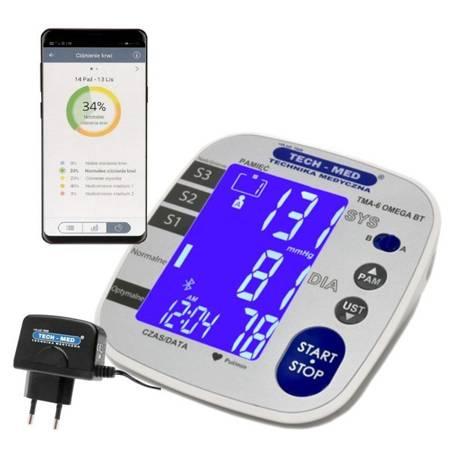 TECH-MED Ciśnieniomierz elektroniczny z funkcją Bluetooth TMA-6 OMEGA BT z zasilaczem