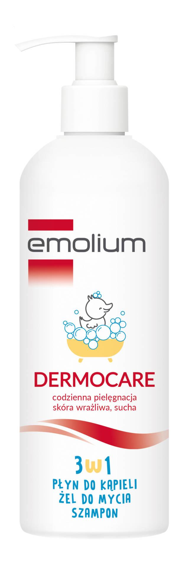 EMOLIUM DERMOCARE 3w1 płyn do kąpieli, żel do mycia, szampon 400ml
