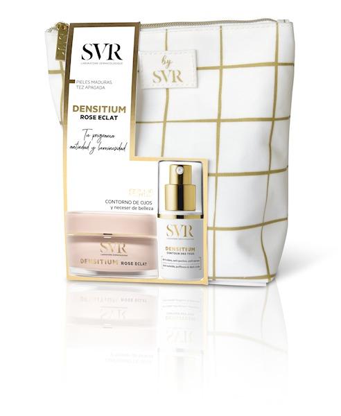 SVR ZESTAW Rose Eclat 50ml + Contour des Yeux 15ml Przeciwzmarszczkowy, rewitalizujący krem na dzień do skóry dojrzałej + krem pod oczy 15ml + kosmetyczka