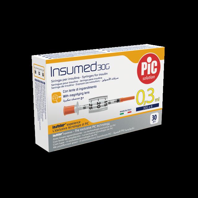 PIC Insumed Strzykawki insulinowe z powiększeniem 30szt.