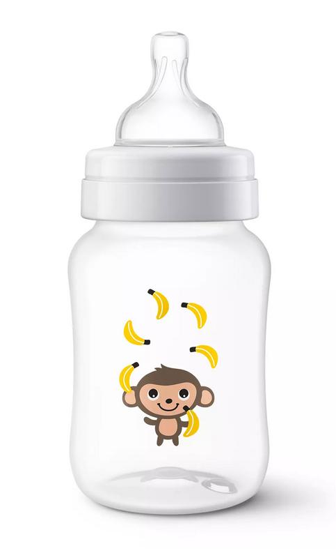 """AVENT Butelka antykolkowa dla niemowląt """"Małpka"""" 1m+ 260ml  SCF821/11"""