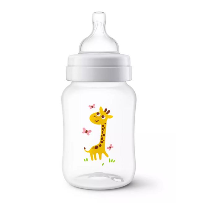 """AVENT Butelka antykolkowa dla niemowląt """"Żyrafa"""" 1m+ 260ml  SCF821/12"""
