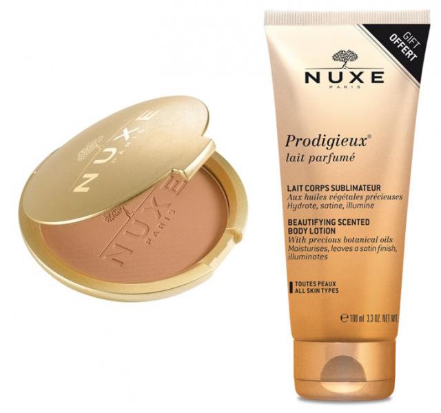 NUXE Prodigieux® Poudre Eclat Brązujący puder w kompakcie o wielu zastosowaniach 25g + Prodigieux® Mleczko do ciała 100 ml w PREZENCIE