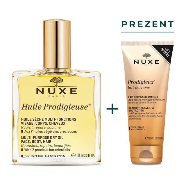 NUXE Huile Prodigieuse® Riche Intensywny odżywczy olejek do twarzy i włosów 100ml + Prodigieux® Mleczko do ciała 100 ml w PREZENCIE
